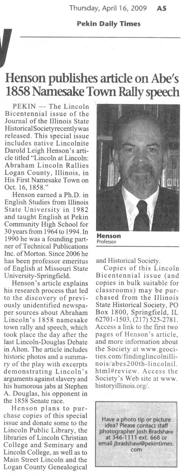 in the lincoln bicentennial issue of the journal of the illinois state historical society you may have to click on the jpg for a readable size